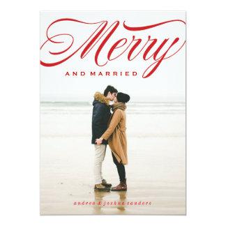 Cartão com fotos alegre e casado do feriado do