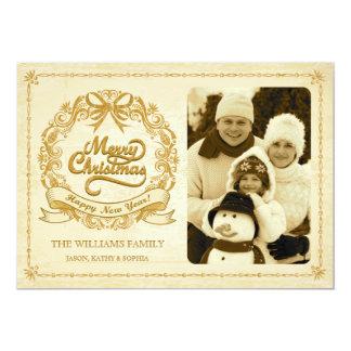 Cartão com fotos antigo rústico da grinalda do convite 12.7 x 17.78cm