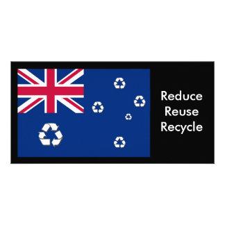 Cartão com fotos australiano da bandeira do recicl