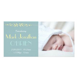 Cartão com fotos azul 2 do anúncio do nascimento cartão com foto
