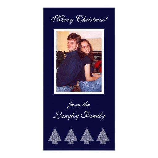 Cartão com fotos azul das árvores de Natal