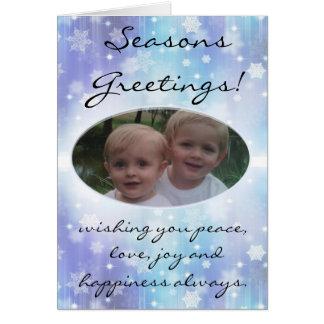 Cartão com fotos azul de Chrismas do floco de neve