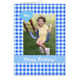 Cartão com fotos azul do aniversário da mamã do