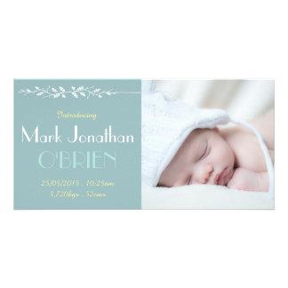 Cartão com fotos azul do anúncio do nascimento do cartão com foto