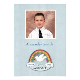Cartão com fotos azul do comunhão da pomba do arco convites personalizado