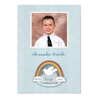 Cartão com fotos azul do comunhão da pomba do convites personalizado