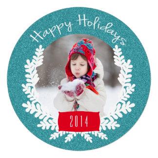 Cartão com fotos azul do feriado do brilho da convites personalizado