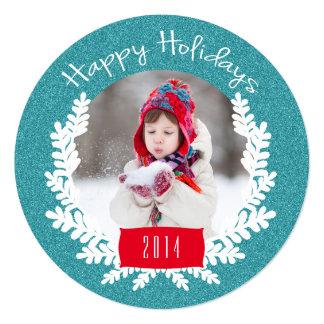 Cartão com fotos azul do feriado do brilho | da convite quadrado 13.35 x 13.35cm
