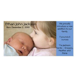 Cartão com fotos azul do menino do anúncio do cartão com foto