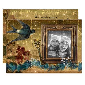 Cartão com fotos azul do pássaro da chave mágica convite 12.7 x 17.78cm