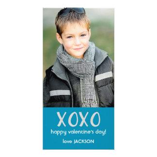 Cartão com fotos azul dos namorados de XOXO Cartão Com Foto