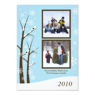 Cartão com fotos azul marrom na moda do feriado convite 12.7 x 17.78cm