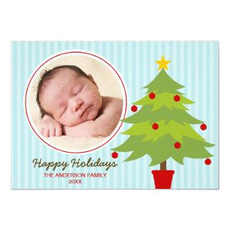 Cartão com fotos bonito do feriado da árvore de convite 12.7 x 17.78cm