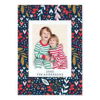 Cartão com fotos bonito do feriado do Natal floral