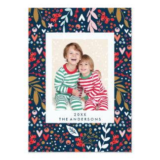 Cartão com fotos bonito do feriado do Natal floral Convite 12.7 X 17.78cm