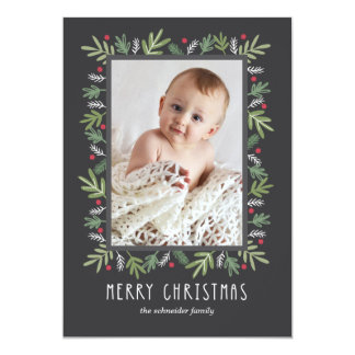 Cartão com fotos botânico festivo do Feliz Natal