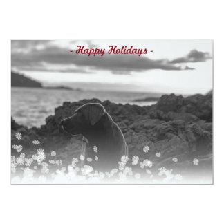 Cartão com fotos branco vermelho de queda do Natal Convite 12.7 X 17.78cm