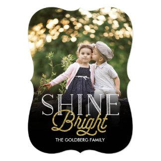 Cartão com fotos brilhante do feriado do brilho convite 12.7 x 17.78cm