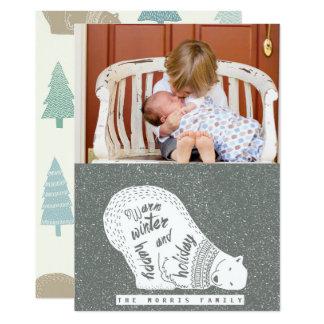 Cartão com fotos brincalhão do feriado de inverno
