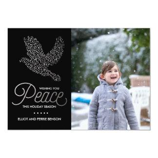 Cartão com fotos calmo de prata do feriado da convite 12.7 x 17.78cm