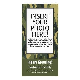 Cartão com fotos - Camo verde (feriado, família, o