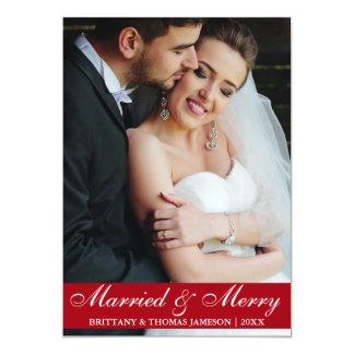 Cartão com fotos casado & alegre R do casamento do