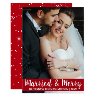 Cartão com fotos casado & alegre R S do casamento