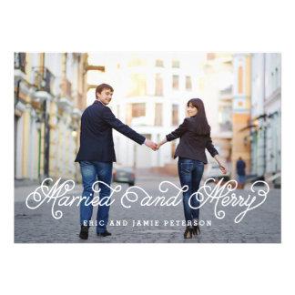 Cartão com fotos casado e alegre do feriado convite personalizado