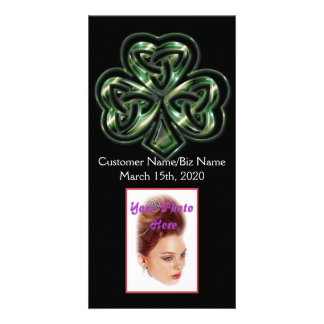 Cartão com fotos celta do design 2 do trevo cartão com foto