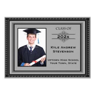 Cartão com fotos cinzento da moldura para retrato convites personalizado