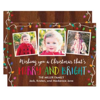 Cartão com fotos colorido das luzes de Natal do