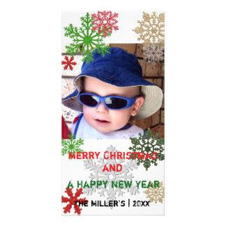 Cartão com fotos colorido dos flocos de neve do cartão com foto