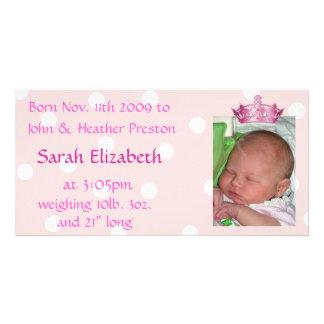 Cartão com fotos cor-de-rosa do anúncio do nascime