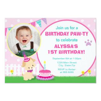 Cartão com fotos cor-de-rosa do convite 5x7 do