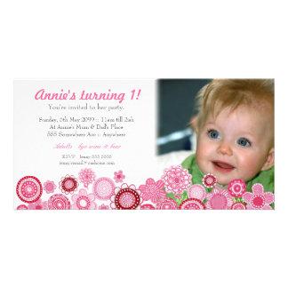 Cartão com fotos cor-de-rosa do convite de festas