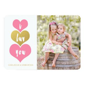Cartão com fotos cor-de-rosa doce do dia dos