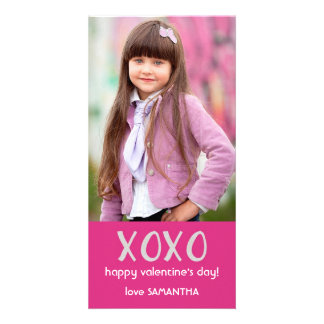 Cartão com fotos cor-de-rosa dos namorados de XOXO