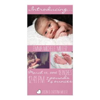 Cartão com fotos cor-de-rosa moderno do anúncio do cartão com foto