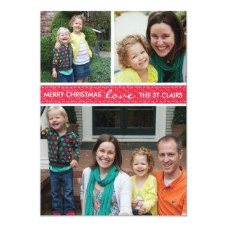 """Cartão com fotos """"costurado"""" do feriado convite 12.7 x 17.78cm"""