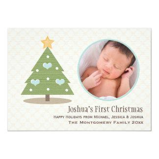 Cartão com fotos da árvore de Natal de bebê azul Convite 12.7 X 17.78cm