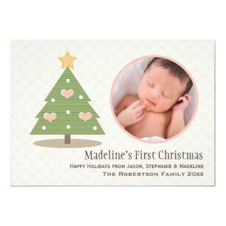 Cartão com fotos da árvore de Natal do bebê Convite 12.7 X 17.78cm