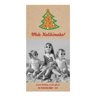 Cartão com fotos da árvore de Natal do hibiscus de