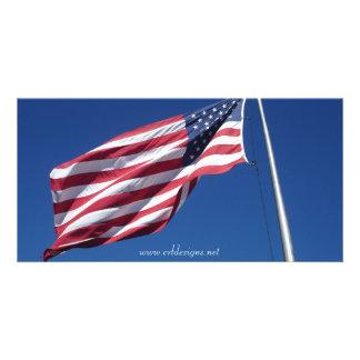 Cartão com fotos da bandeira americana cartão com foto