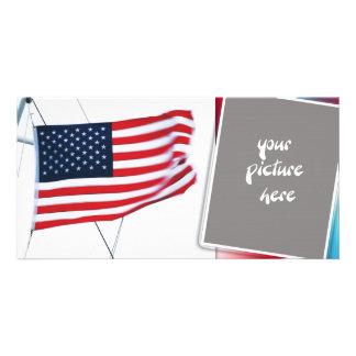 Cartão com fotos da bandeira americana