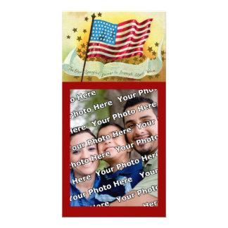 Cartão com fotos da bandeira americana de bandeira cartão com foto