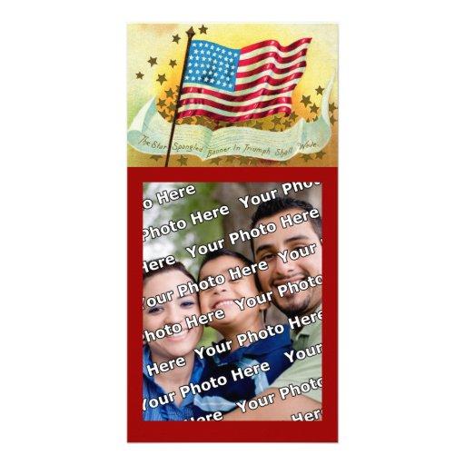 Cartão com fotos da bandeira americana de bandeira