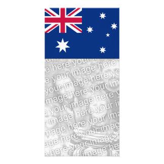 Cartão com fotos da bandeira de Austrália