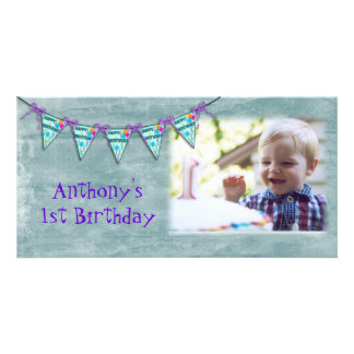 Cartão com fotos da bandeira do aniversário cartão com foto