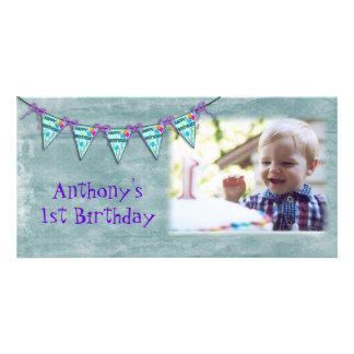 Cartão com fotos da bandeira do aniversário