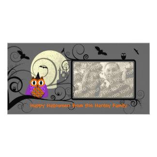 Cartão com fotos da coruja do Dia das Bruxas